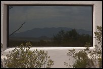 Chisos mountains, Persimmon Gap visitor center window reflexion. Big Bend National Park ( color)