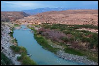 Rio Grande River and Sierra Del Carmen mountains, dusk. Big Bend National Park, Texas, USA.