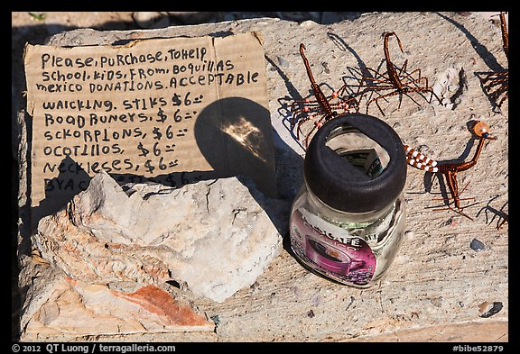 Mexican handicrafts offers on honor system. Big Bend National Park (color)