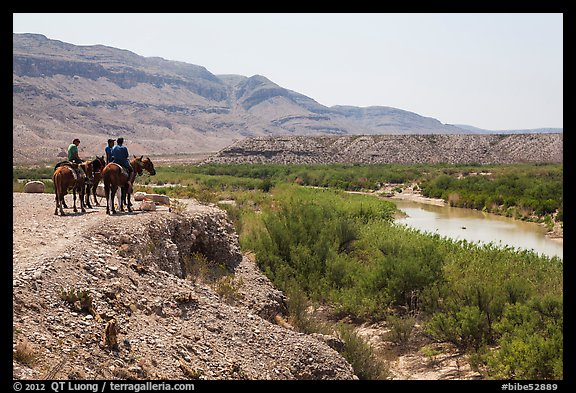 Horsemen and Rio Grande River. Big Bend National Park (color)
