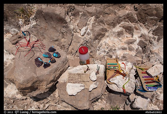 Honor system stand with Boquillas wares. Big Bend National Park (color)