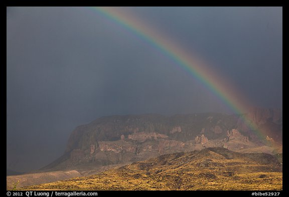 Rainbow over Chisos Mountains. Big Bend National Park (color)