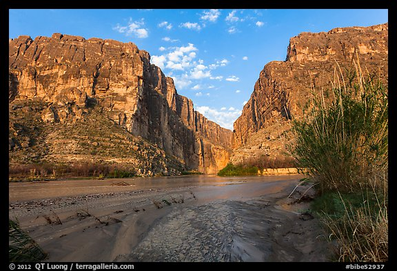 Terlingua Creek mud flats and Santa Elena Canyon. Big Bend National Park (color)