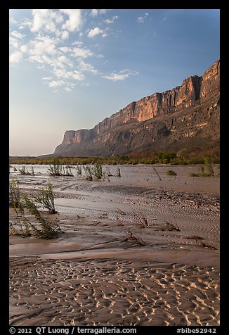Mud flats, Mesa de Anguilla and Rio Grande River. Big Bend National Park (color)