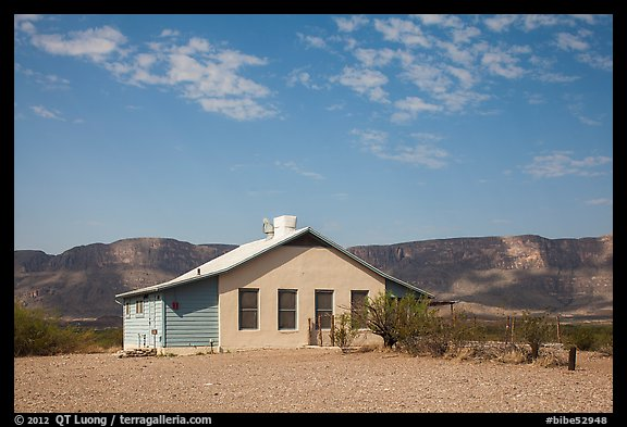 Castolon house and Sierra Ponce Mountains. Big Bend National Park (color)