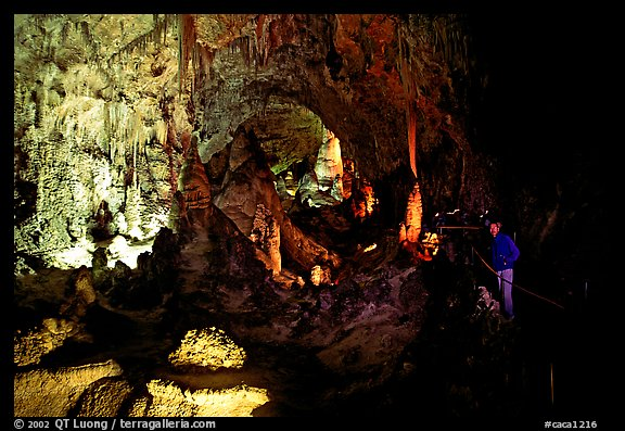 Visitor in large room. Carlsbad Caverns National Park (color)
