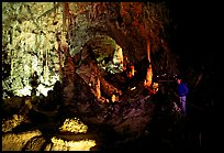 Visitor in large room. Carlsbad Caverns National Park ( color)