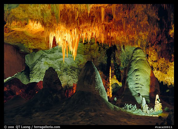 Stalagtite chandelier and stubby stalagmites. Carlsbad Caverns National Park (color)