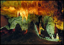 Stalagtite chandelier and stubby stalagmites. Carlsbad Caverns National Park ( color)