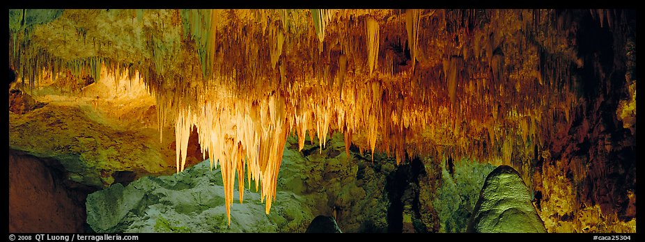 Cave roof with stalactites in Big Room. Carlsbad Caverns National Park (color)