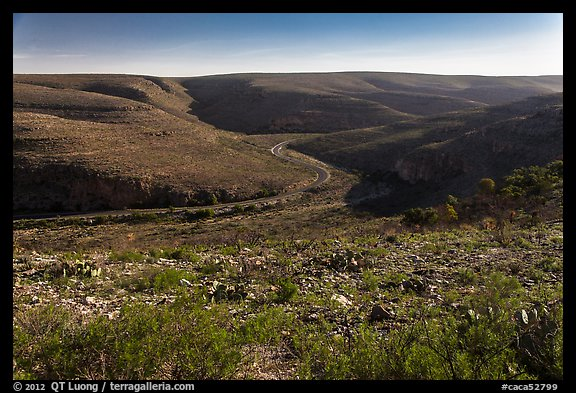 Walnut Canyon and road from above. Carlsbad Caverns National Park (color)