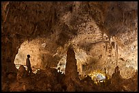 Park visitor looking, cave room. Carlsbad Caverns National Park ( color)
