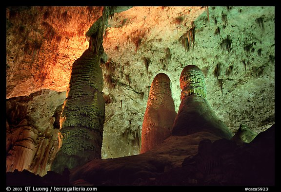 Tall columns in Hall of Giants. Carlsbad Caverns National Park (color)