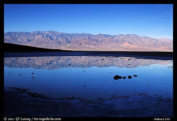 Panamint range reflection in Badwater pond, early morning. Death Valley National Park, California, USA.