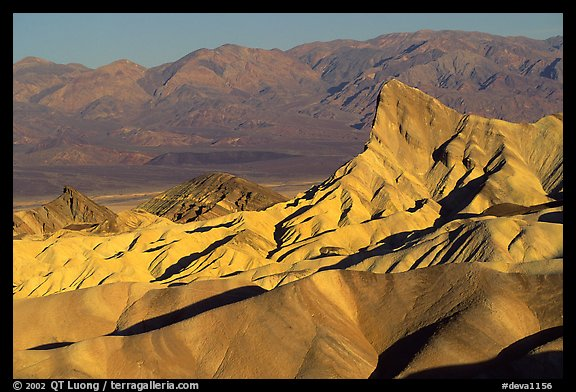 Manly beacon, Zabriskie point, sunrise. Death Valley National Park (color)