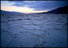 Hexagonal salt tiles near Badwater, sunrise. Death Valley National Park, California, USA. (color)