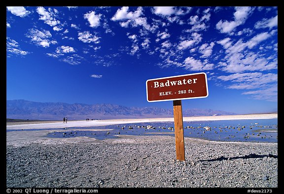 Badwater, lowest point in the US. Death Valley National Park (color)