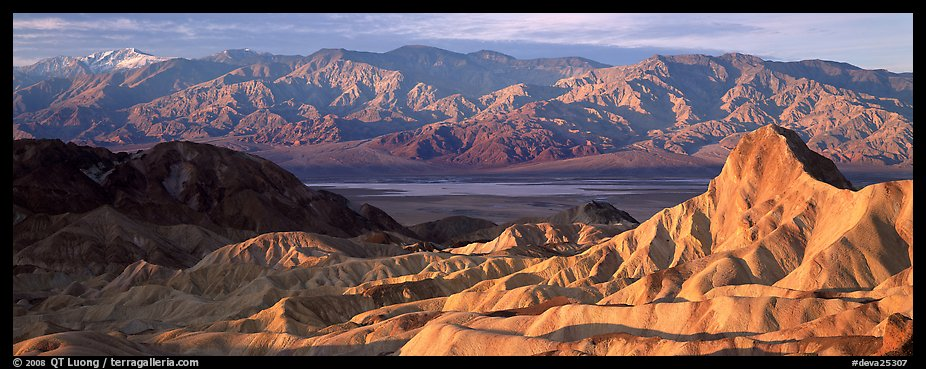 Zabriskie Point, Death Valley, and mountains in winter. Death Valley National Park (color)