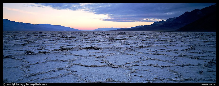 Hexagons on salt pan at sunrise. Death Valley National Park (color)