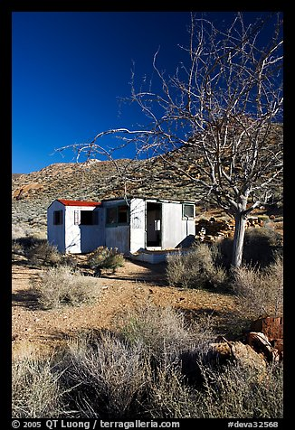 Cabin of Pete Aguereberry's mining camp in the Panamint Mountains, afternoon. Death Valley National Park (color)