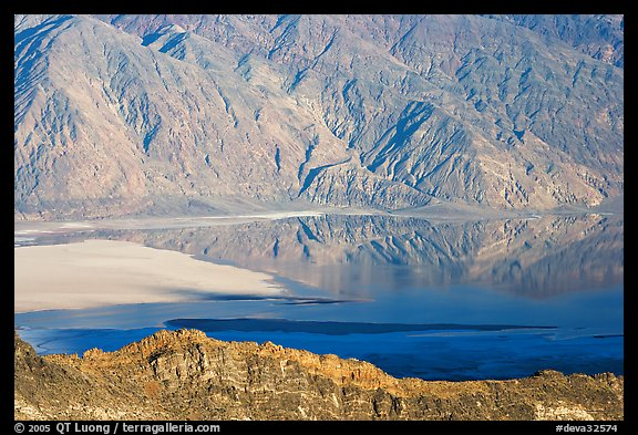 Rare seasonal lake on Death Valley floor and Black range, seen from above, late afternoon. Death Valley National Park (color)
