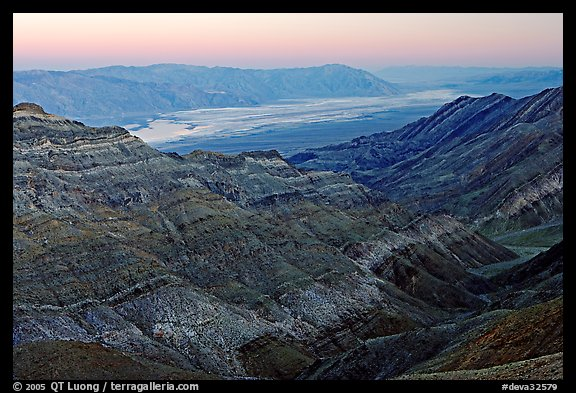 Canyon and Death Valley from Aguereberry point, sunset. Death Valley National Park (color)