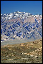 Road below Mountains above Emigrant Pass. Death Valley National Park, California, USA.