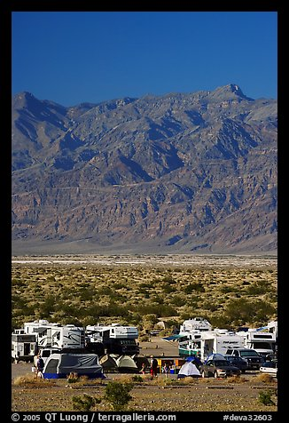 Camp and RVs at Stovepipe Wells, with Armagosa Mountains in the background. Death Valley National Park (color)