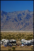 Camp and RVs at Stovepipe Wells, with Armagosa Mountains in the background. Death Valley National Park, California, USA. (color)