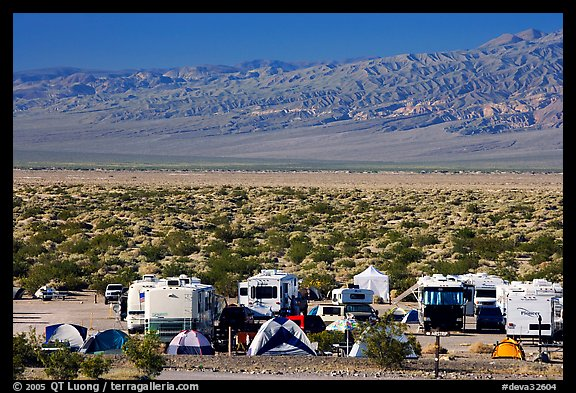 Campground and RVs at Furnace creek. Death Valley National Park (color)