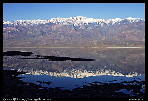 Telescope Peak and Panamint range reflected in a rare seasonal lake, early morning. Death Valley National Park (color)