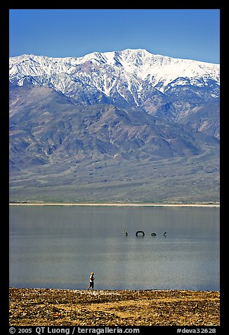 Tourist, ephemeral Loch Ness Monster in Manly Lake, and Telescope Peak. Death Valley National Park (color)