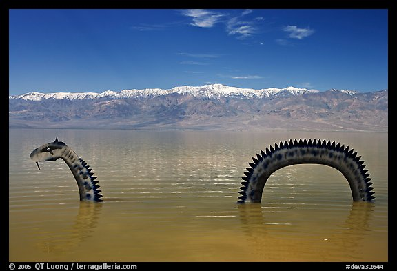 Loch Ness Monster art installation in Manly Lake and Panamint range. Death Valley National Park (color)