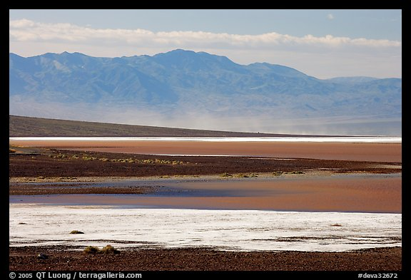 Salt Flats on Valley floor and Owlshead Mountains, early morning. Death Valley National Park (color)
