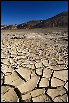 Mud cracks and Funeral mountains. Death Valley National Park, California, USA. (color)