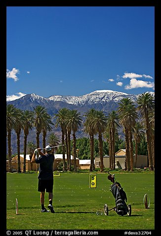 Golfer in Furnace Creek Golf course. Death Valley National Park (color)