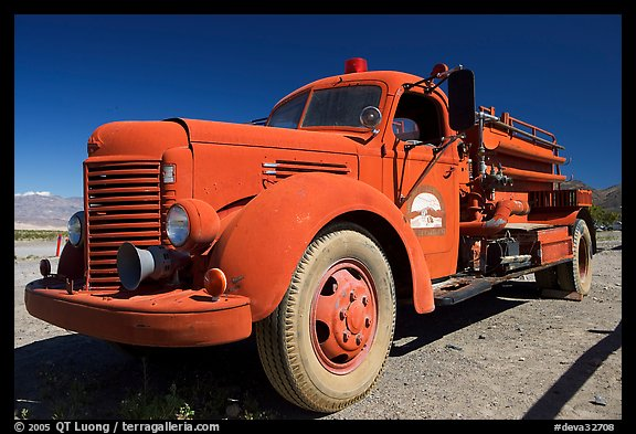 Firetruck at Stovepipe Wells. Death Valley National Park, California, USA.