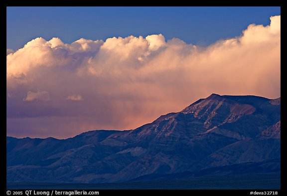 Clouds and mountains at sunset. Death Valley National Park (color)