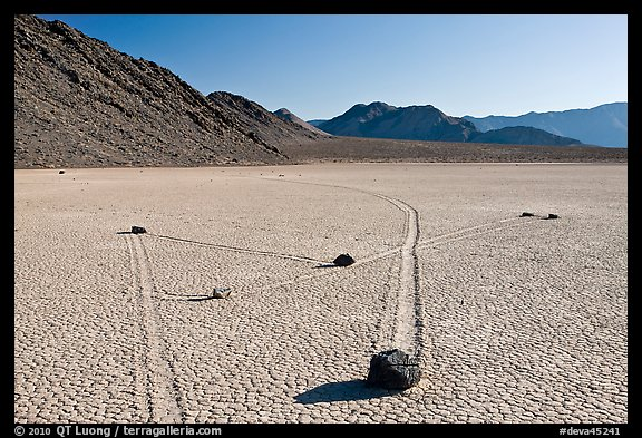 Moving rocks and non-linear tracks, the Racetrack. Death Valley National Park (color)
