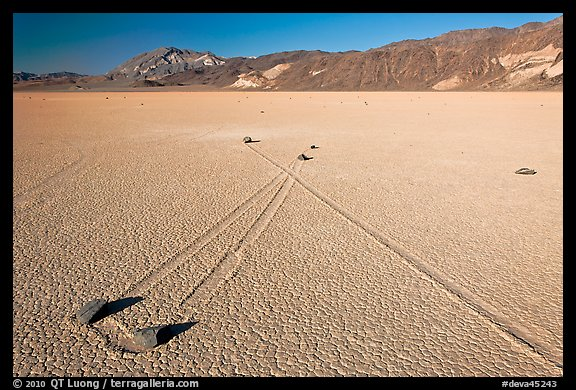 Sailing stones, the Racetrack playa. Death Valley National Park (color)