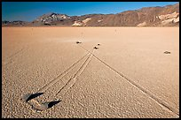 Sailing stones, the Racetrack playa. Death Valley National Park, California, USA.