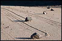 Gliding rocks and trails the Racetrack playa. Death Valley National Park, California, USA. (color)