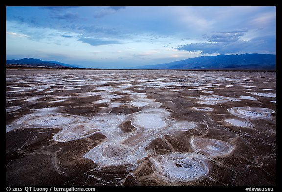 Mud and salt patterns at dusk, Cottonball Basin. Death Valley National Park (color)