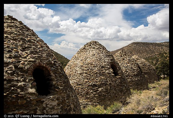 Wildrose Charcoal Kilns and clouds. Death Valley National Park (color)