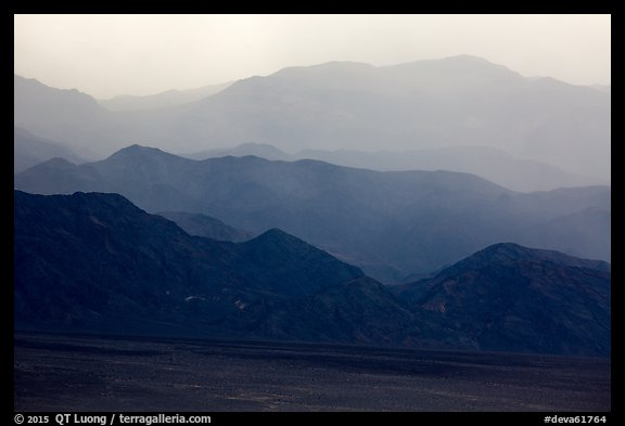 Mountains in the haze of sandstorm. Death Valley National Park (color)