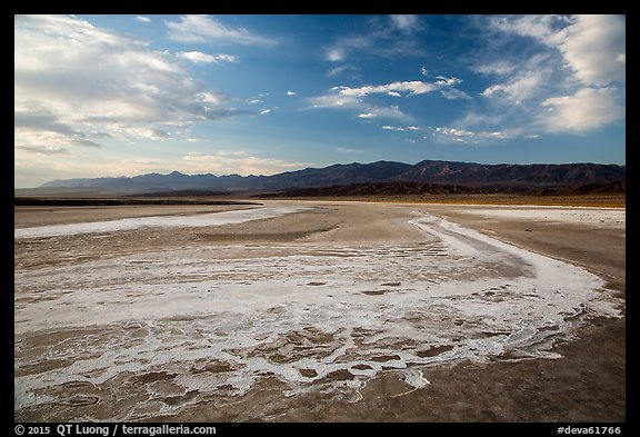 Dried rivers of salt, Cottonball Basin. Death Valley National Park (color)