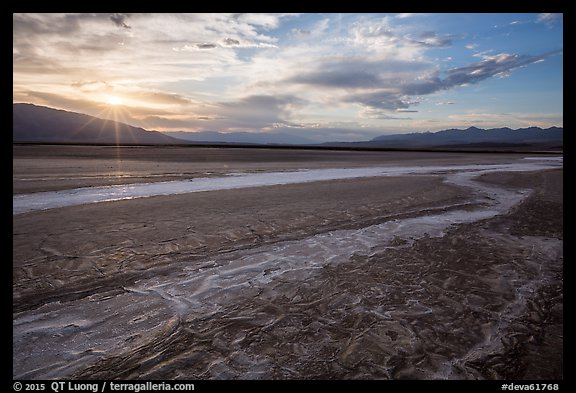 Rivers of salt and sunset, Cottonball Basin. Death Valley National Park (color)