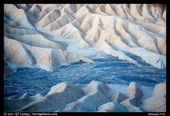 Badlands and wash at dawn, Zabriskie Point. Death Valley National Park (color)