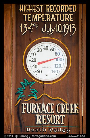Thermometer and highest recorded temperature. Death Valley National Park (color)