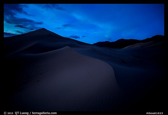 Ibex Sand Dunes at night. Death Valley National Park (color)